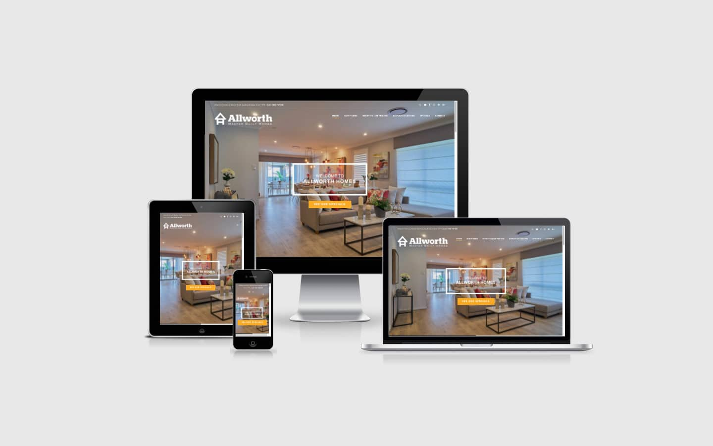 Clean, crisp and professional website design for Allworth Homes | Newcastle Creative Co