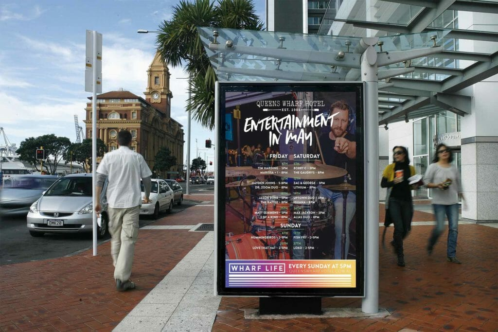 Graphic design for Queens Wharf Hotel including large prints | Newcastle Creative Co