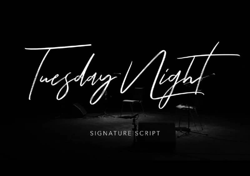 Tuesday Night script free summer font