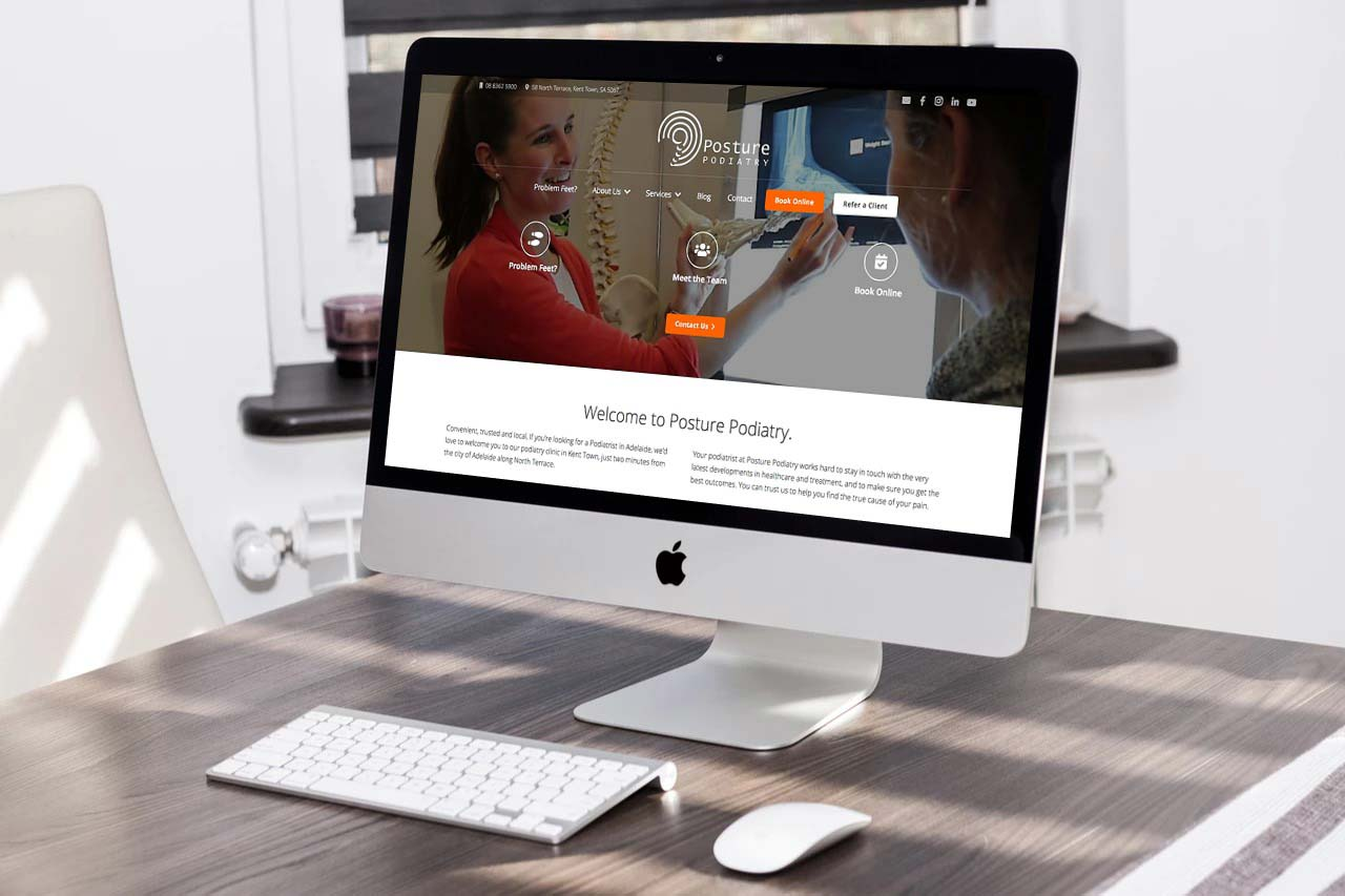 Posture Podiatry's website, designed and built by Julian at Newcastle Creative Co